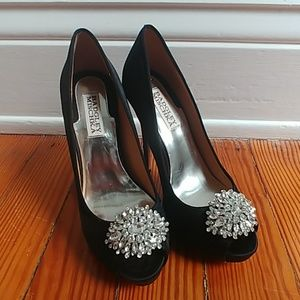 Badgley Mischka black peep-toe heels rhinestones